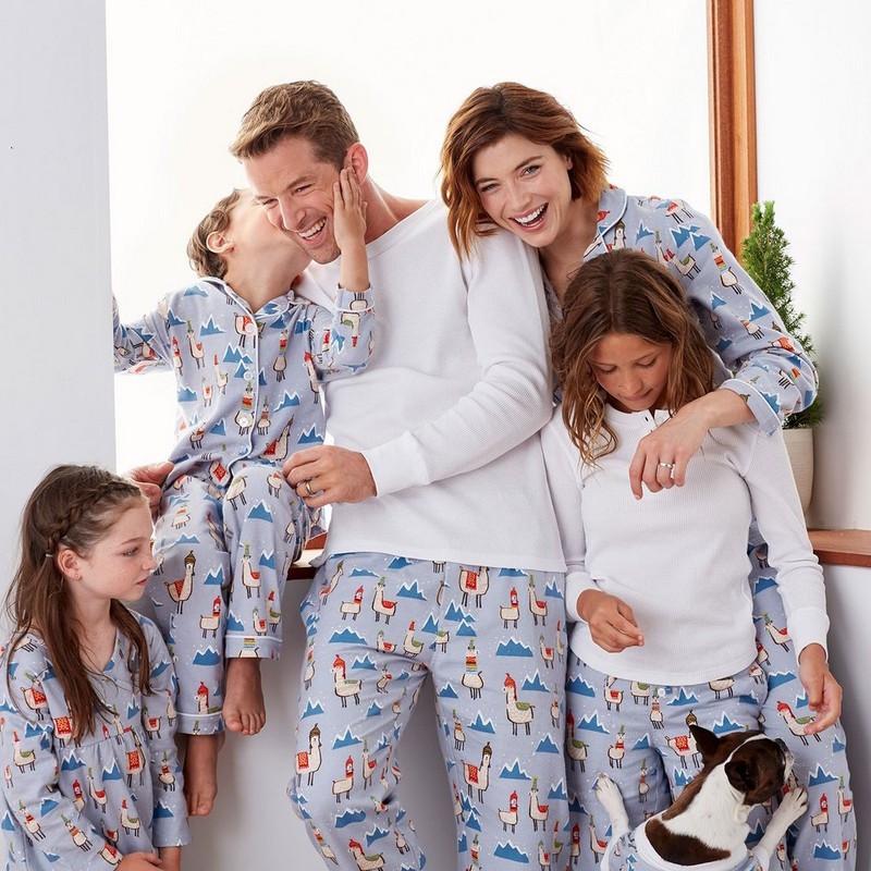 Llama matching family pajamas