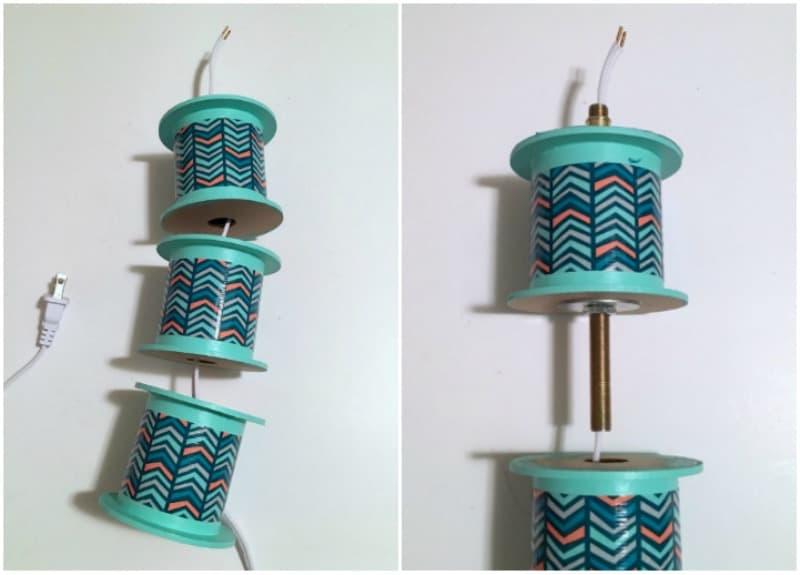 Stringing together a DIY lamp
