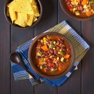 This healthy (and easy) Weight Watchers vegetarian chili recipe is ZERO points on the Freestyle program! It's filling and delicious. Make in the pressure cooker or crockpot!