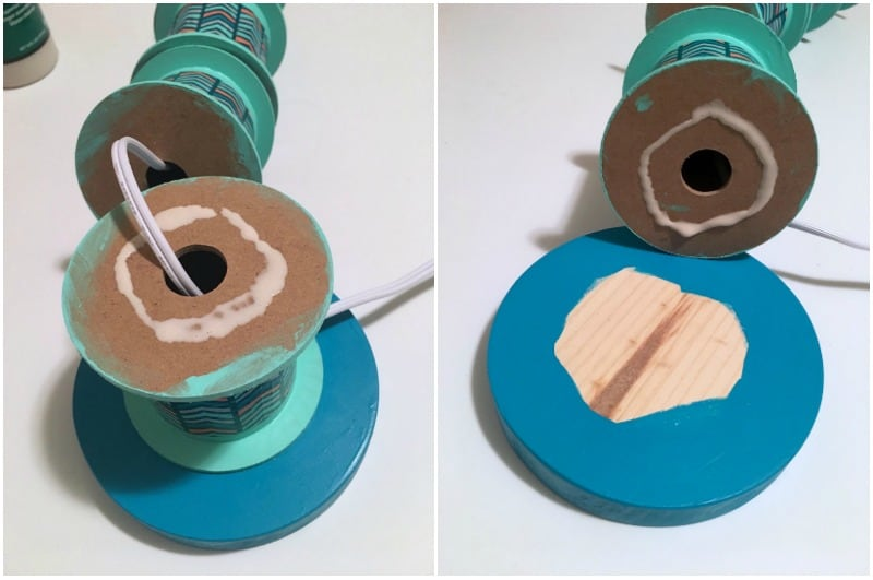 Gluing together ribbon spools to create a lamp