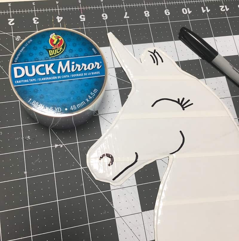 Duck Mirror tape with a unicorn head made from white Duck Tape
