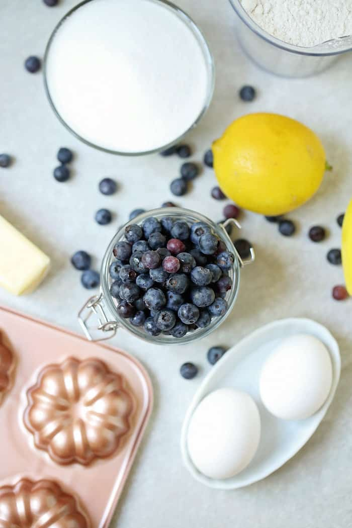 Ingredients for Lemon Blueberry Mini Bundt Cakes