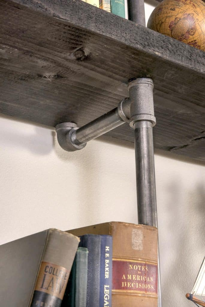 DIY wall shelves with pipe and wood