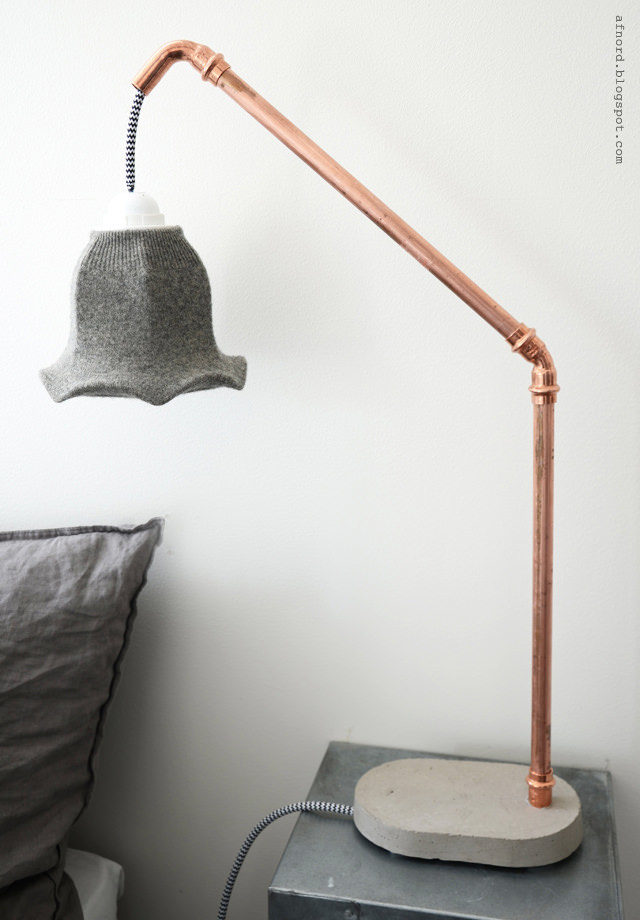 DIY concrete and copper lamp