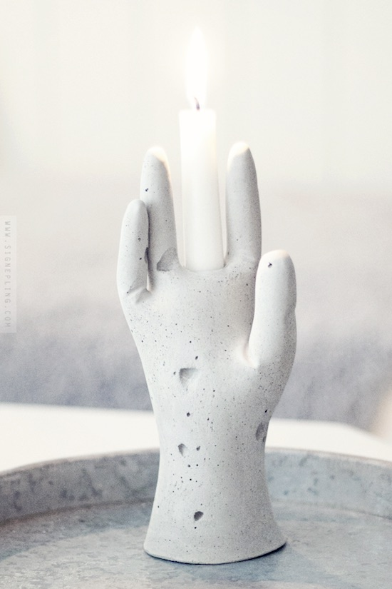 DIY concrete glove candle holder