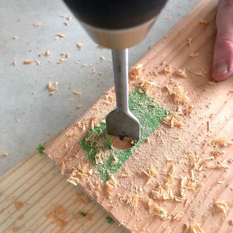 Drilling with a spade bit