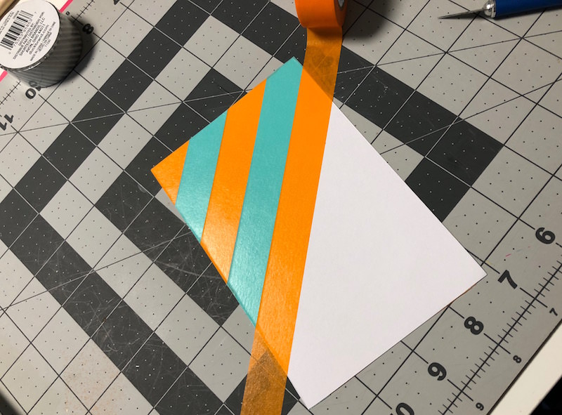 Covering cardstock with washi tape
