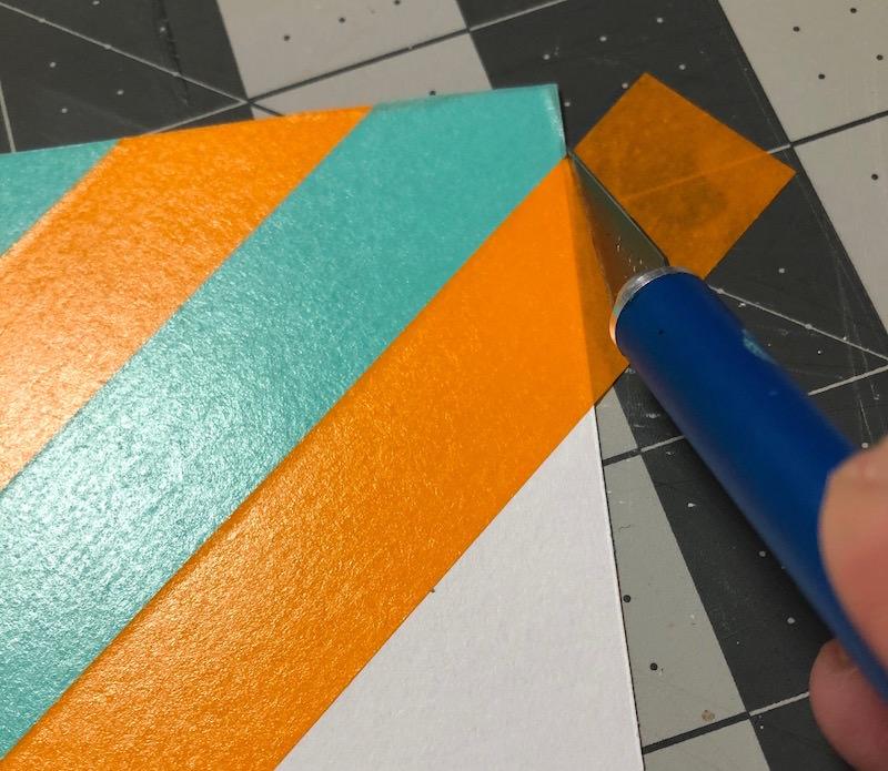 Trim around the edges of washi tape cardstock