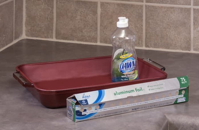 Clean Glass Cookware with Dishwashing Soap and Aluminum Foil