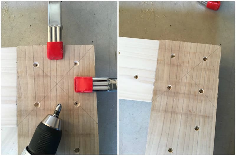 Step 13 DIY bed frame - clamp and screw