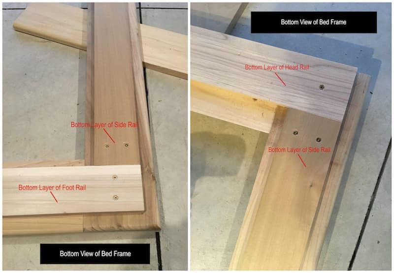 Step 19 DIY modern bed frame - side rail bottom layer