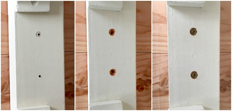 DIY wood coffee table countersinking holes