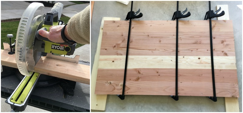 DIY wood coffee table cutting the tabletop
