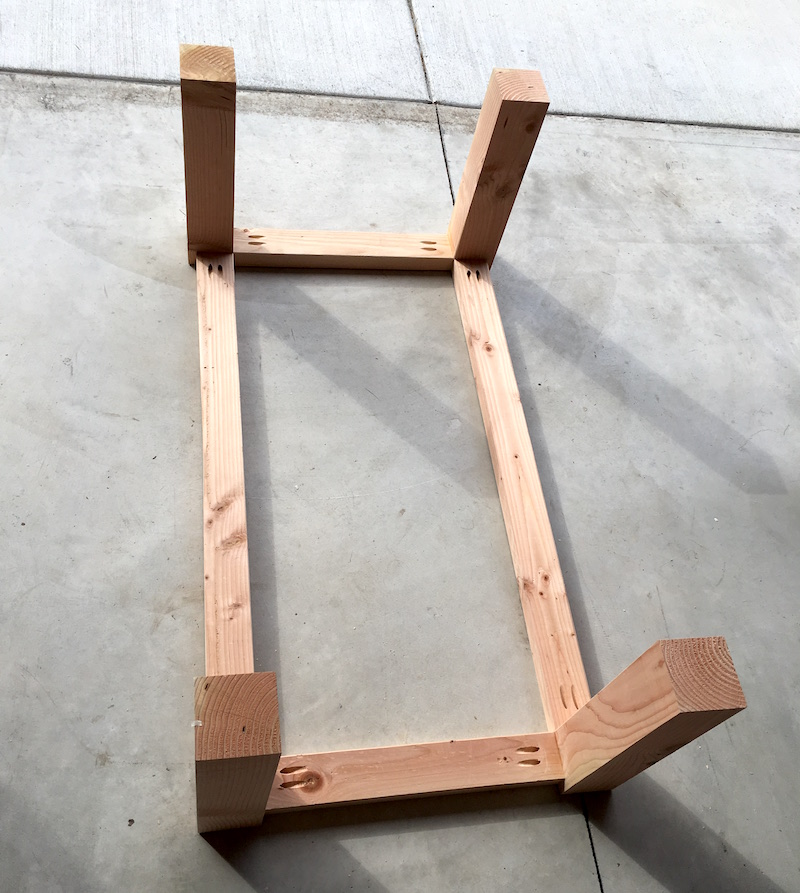 Rustic coffee table frame - support pieces attached
