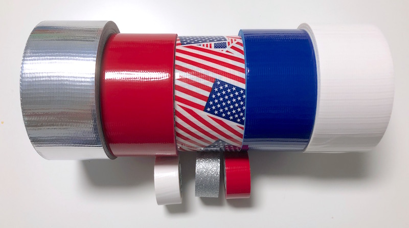 Duck tape in red white and blue patriotic flag and silver