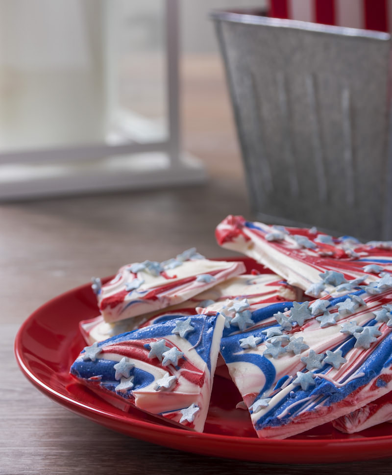 Red White and Blue Candy Bark on Plate