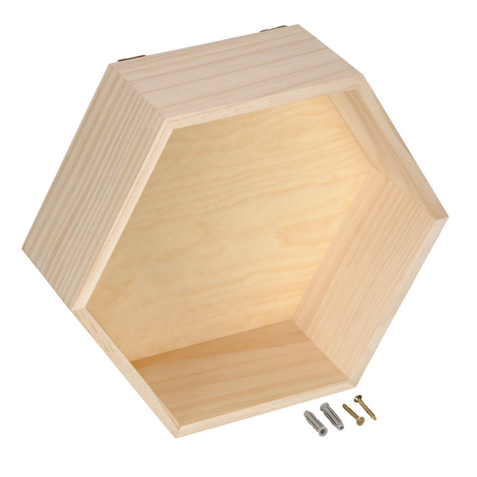 Wooden hexagon shelf from Michaels
