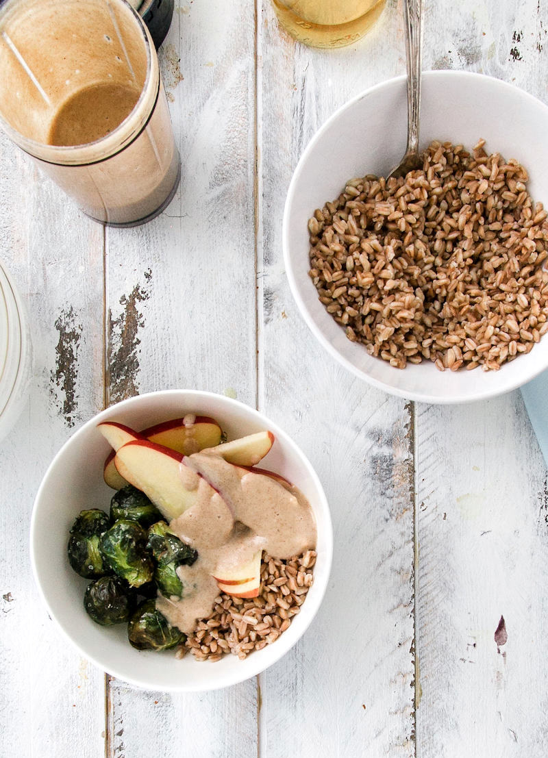 Healthy farro bowl with brussel sprouts and apples