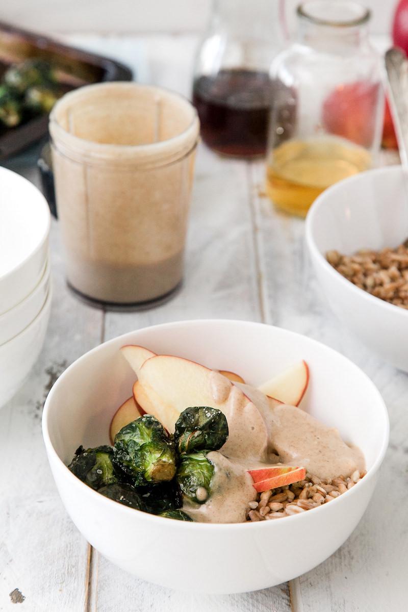 Healthy farro bowl with maple crema sauce