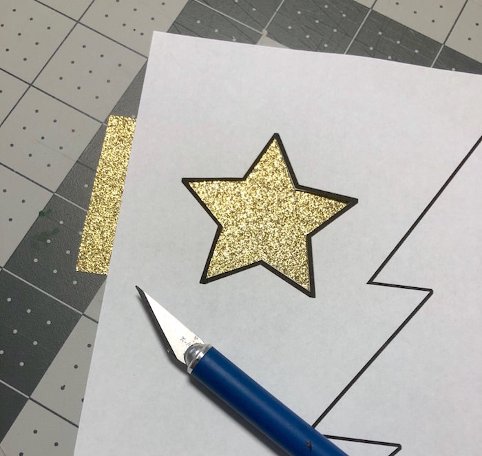 Cut out the star from glitter Duck Tape