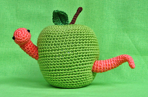Apple and Worm Amigurumi Pattern