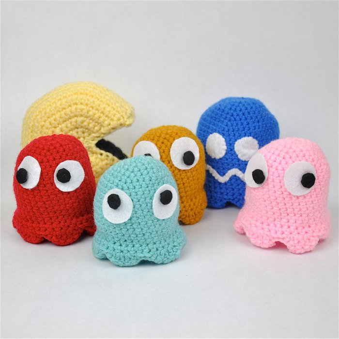 Crochet Pac-Man and Ghosts Amigurumi