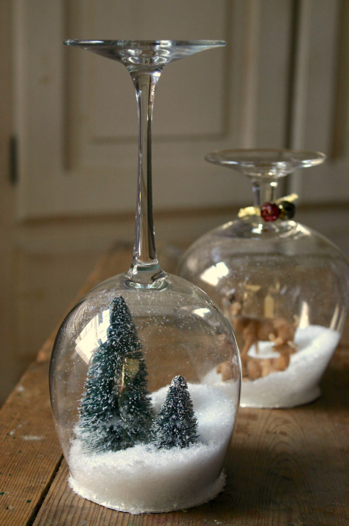 Glass stemware snow globe