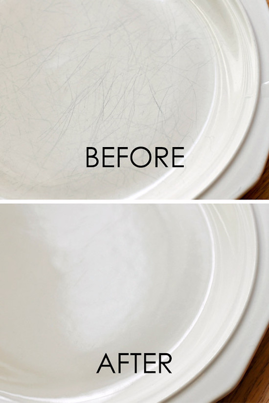 house cleaning tips - How to clean silverware marks from plates