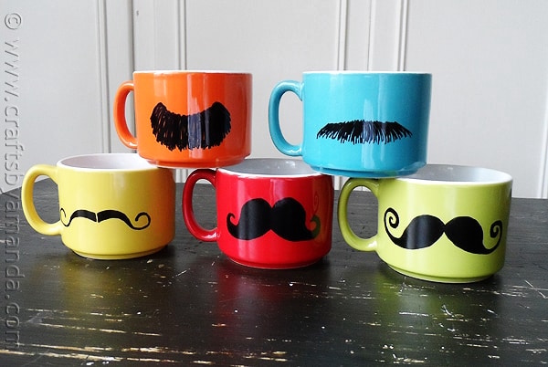 Mustaches Painted on Mugs