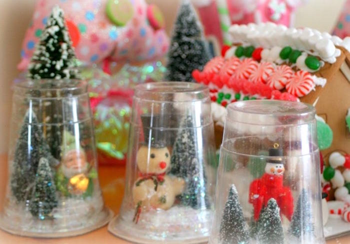 Plastic cup snow globes for kids
