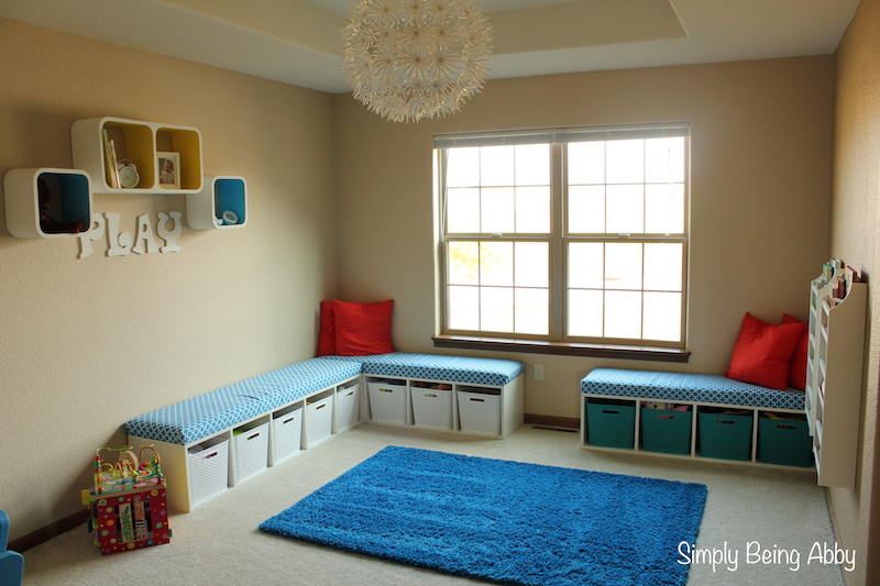 Playroom Update with Storage Benches