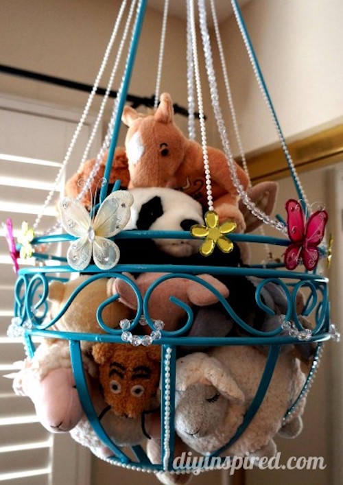 Stuffed Animal Storage from a Plant Hanger