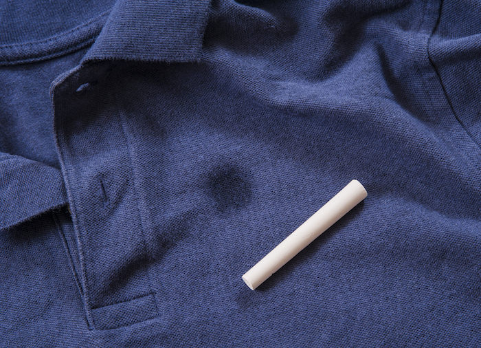 chalk remove grease stains from clothing