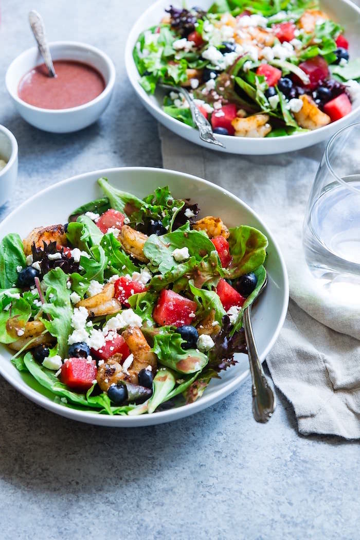 salad with feta cheese and blueberries