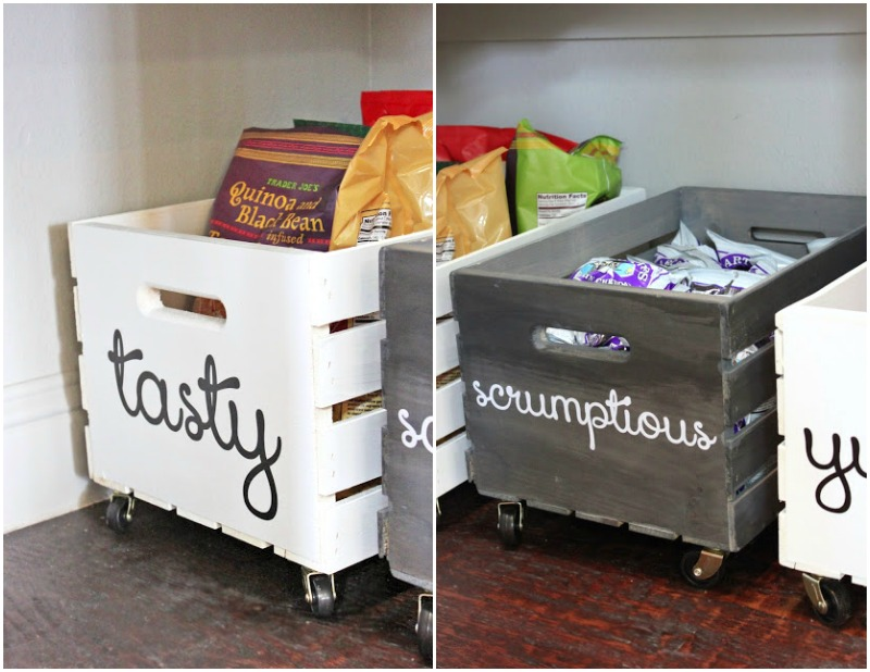 DIY pantry organization ideas - wood storage bins