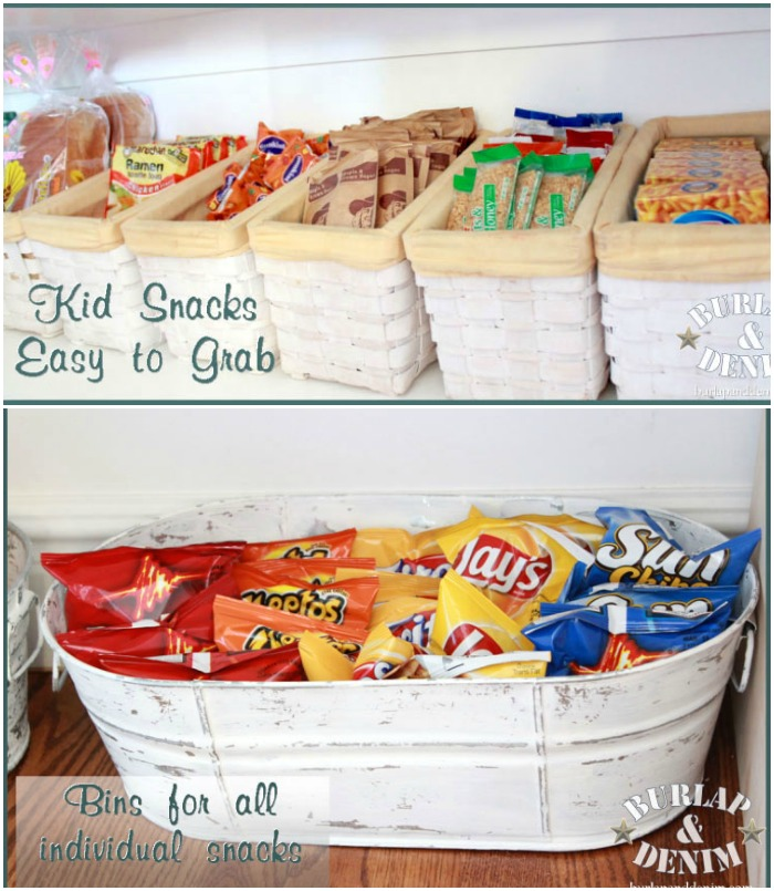 DIY pantry storage in bushel baskets