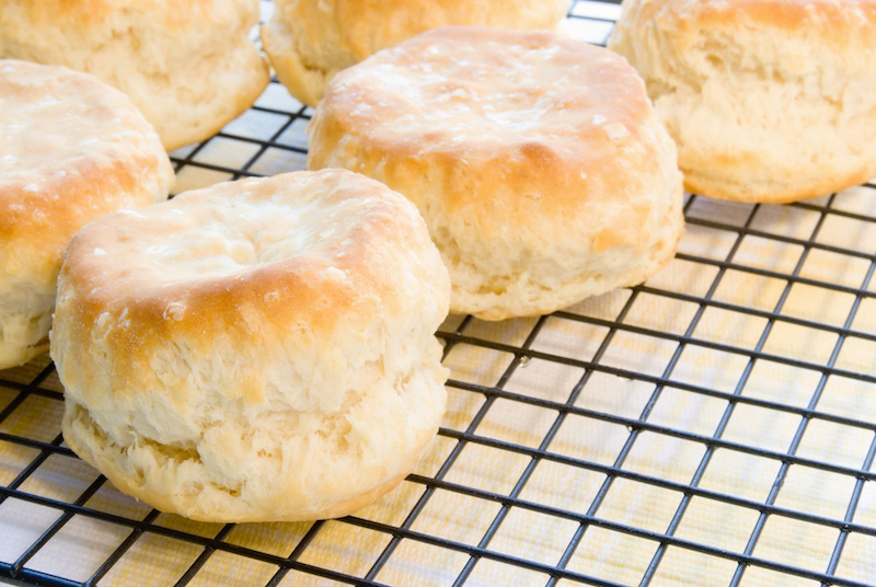 Homemade Baked Buttermilk Biscuits on a Cooling Rack