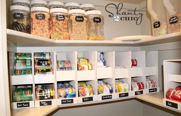 Pantry soup can rack DIY canned food storage