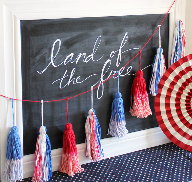 DIY-red-white-and-blue-yarn-tassels