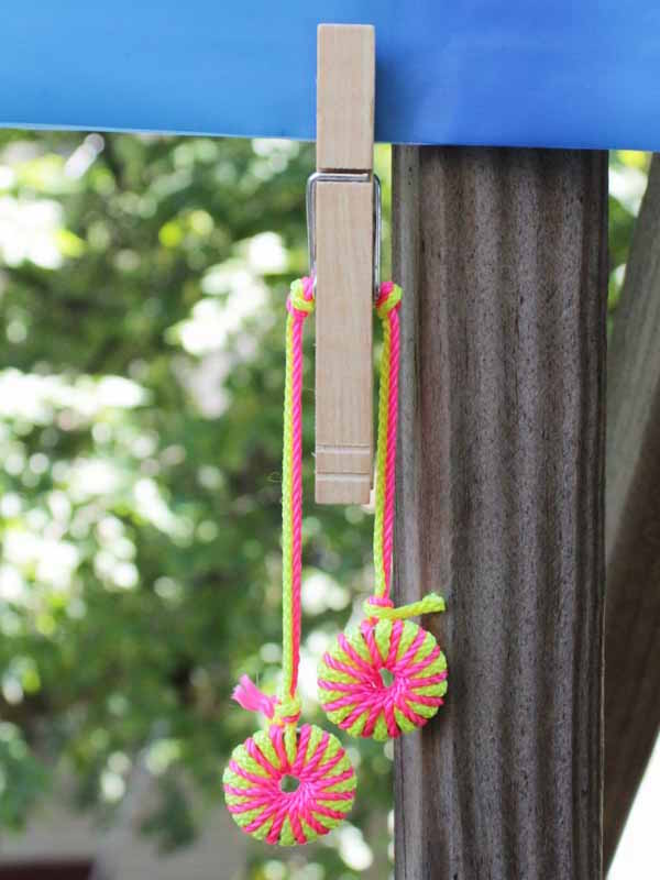 DIY picnic tablecloth weights