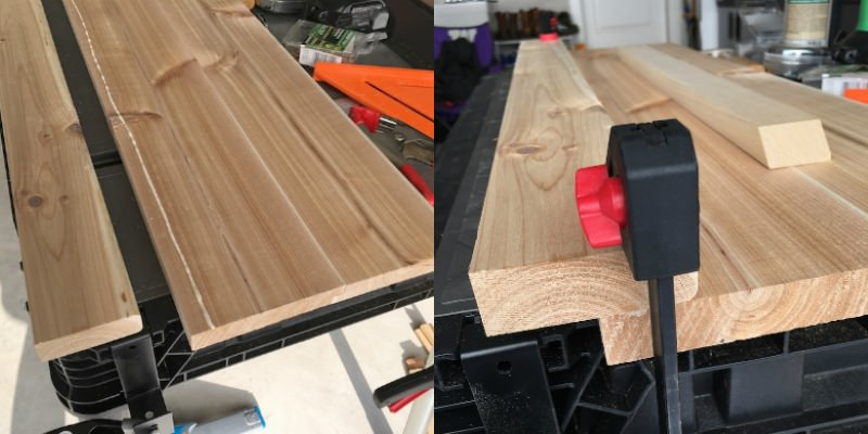 Glue a side plank to your cedar outdoor coffee table and clamp