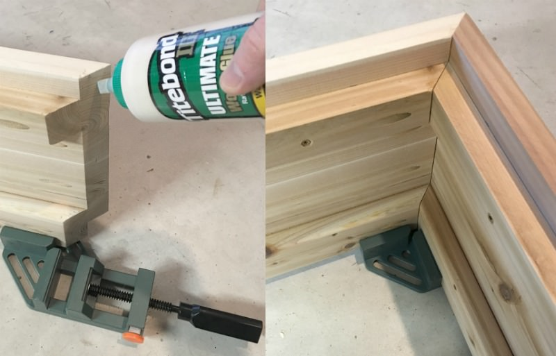 Gluing the DIY patio table edges