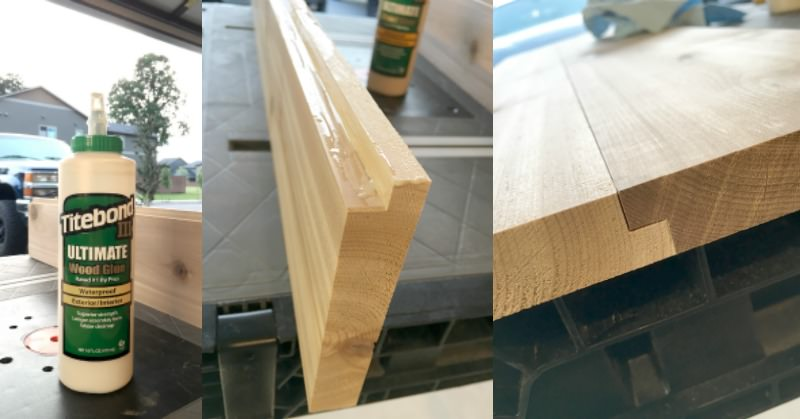 Gluing together a rabbet joint with Titebond Ultimate III