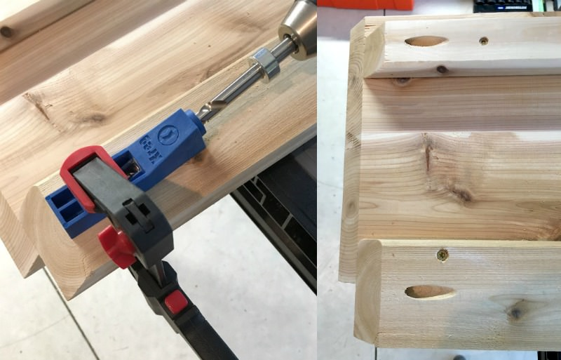 Kreg jig on a DIY coffee table frame