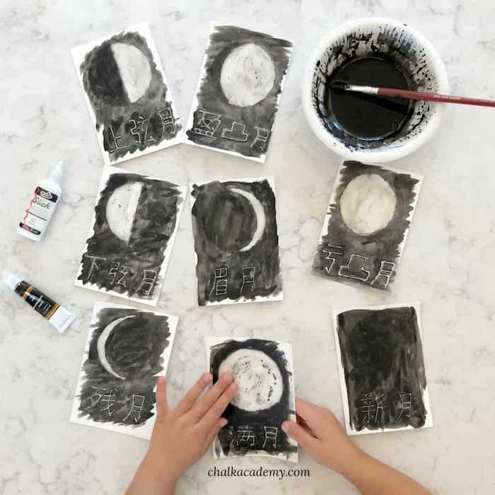 Moon Phases Watercolor Painting Activity