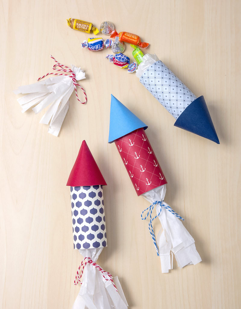 Rocket party favors with candy