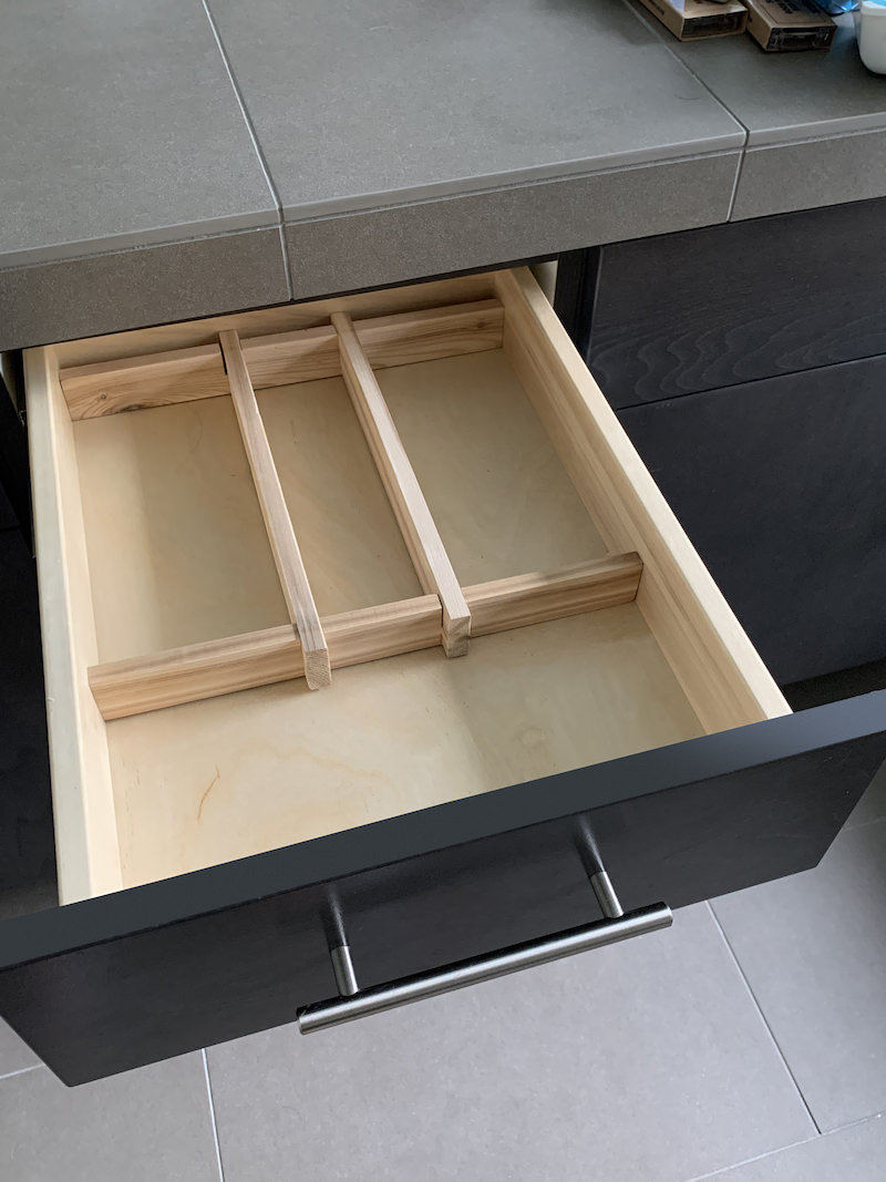 DIY bathroom drawer organizer