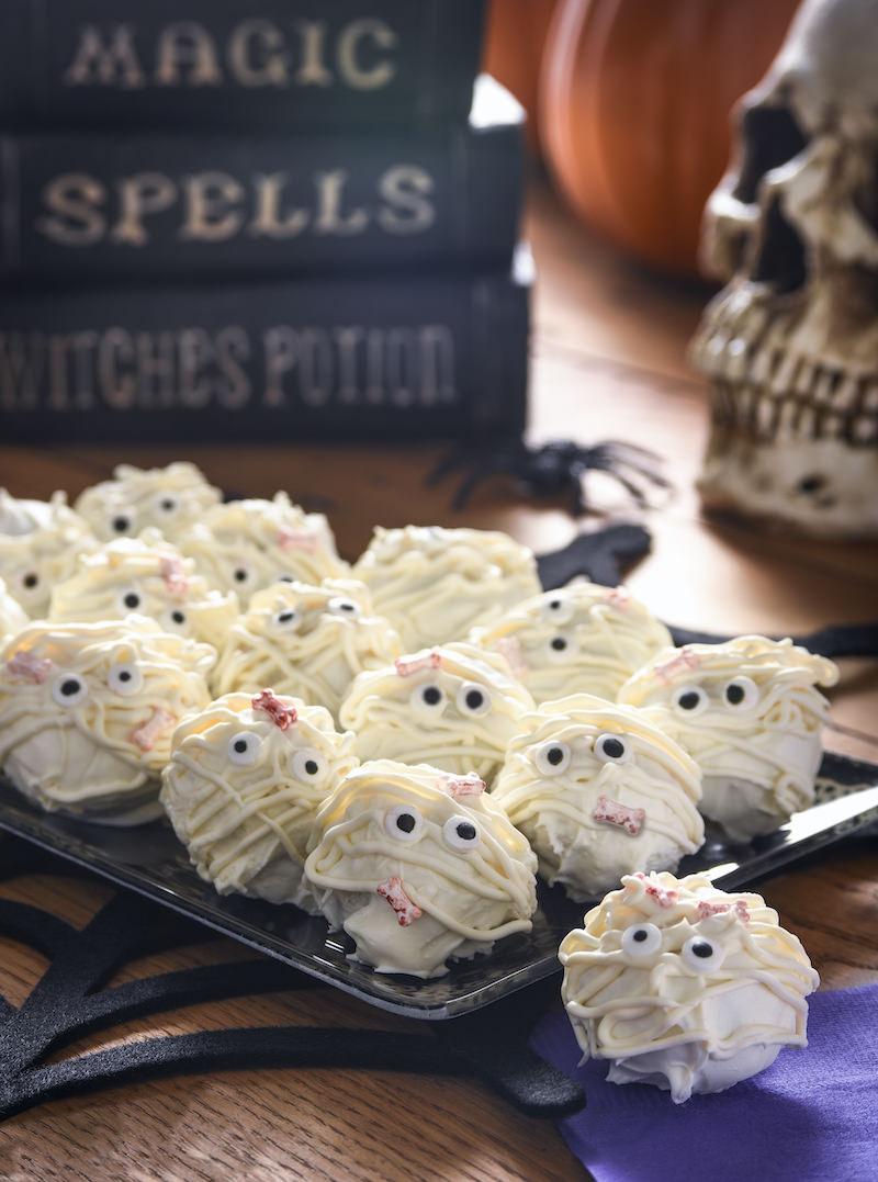 Halloween truffles that look like mummies