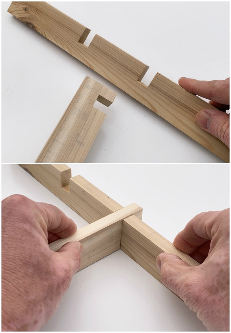 Sliding the pieces of the drawer separator together