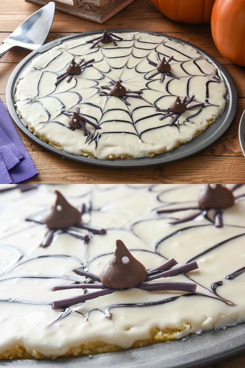 Halloween dessert pizza made with cookie dough and chocolate spiders